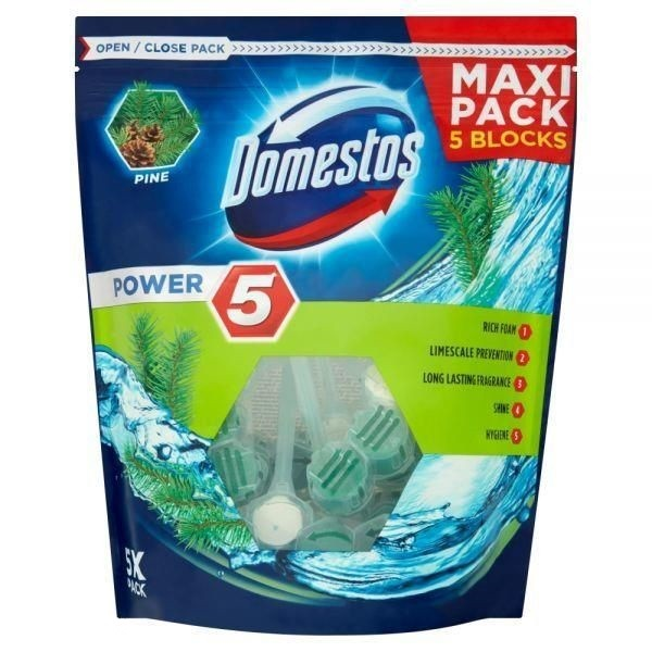Domestos Power 5 Lime Kostka toaletowa 5 x 55 g PINE