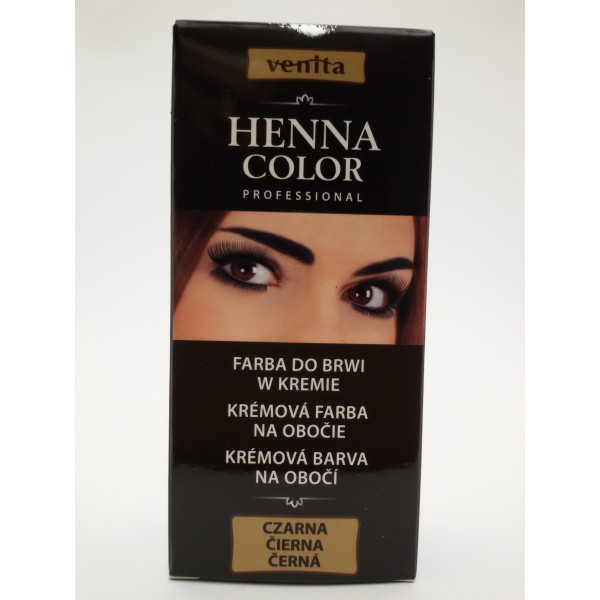 VENITA HENNA COLOR PROFESSIONAL farba do brwi w kremie CZARNA.